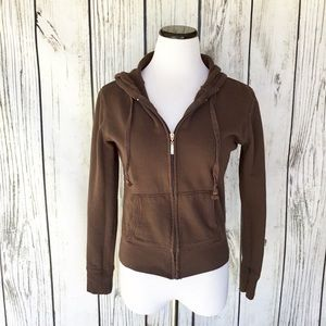Zenana Outfitters brown zip up hoodie sweatshirt